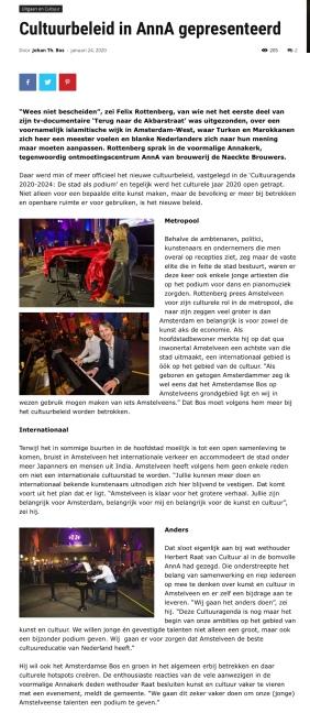 2020-24-1; Amstelveenblog.nl; Herbert Raat over cultuureducatie ambitie Amstelveen