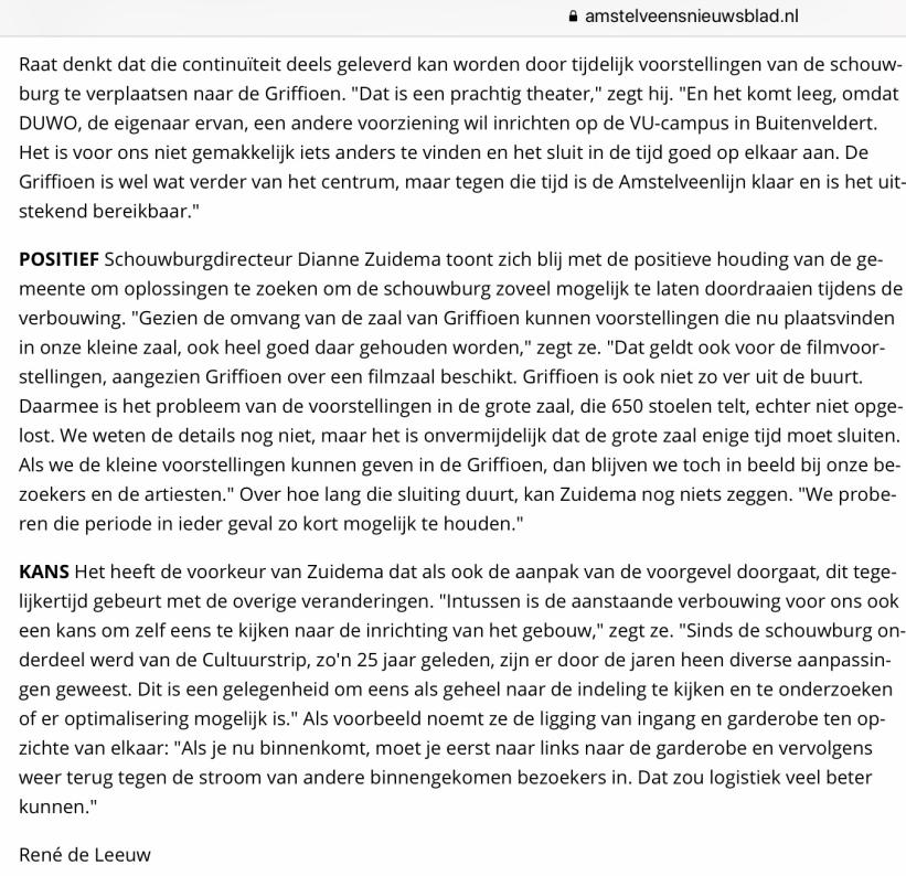 2019-26-11; Het Amstelveens Nieuwsblad; Herbert Raat over tijdelijke verhuizing schouwburg naar Griffioen 2 van 2