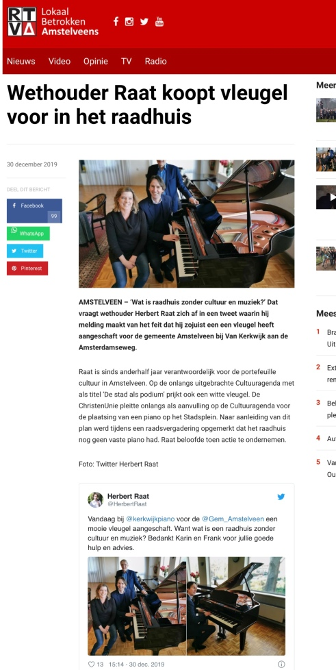 2019-30-12; RTVA; over aankoop vleugel Herbert Raat bij Van Kerkwik Amstelveen