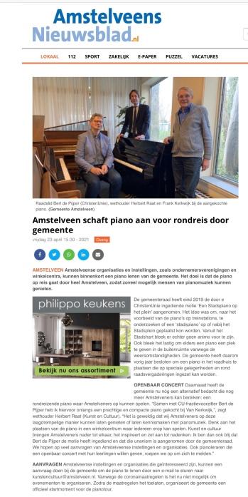 28-4-2021; Amstelveens Nieuwsblad; Herbert Raat en Bert de Pijper aanschaf piano