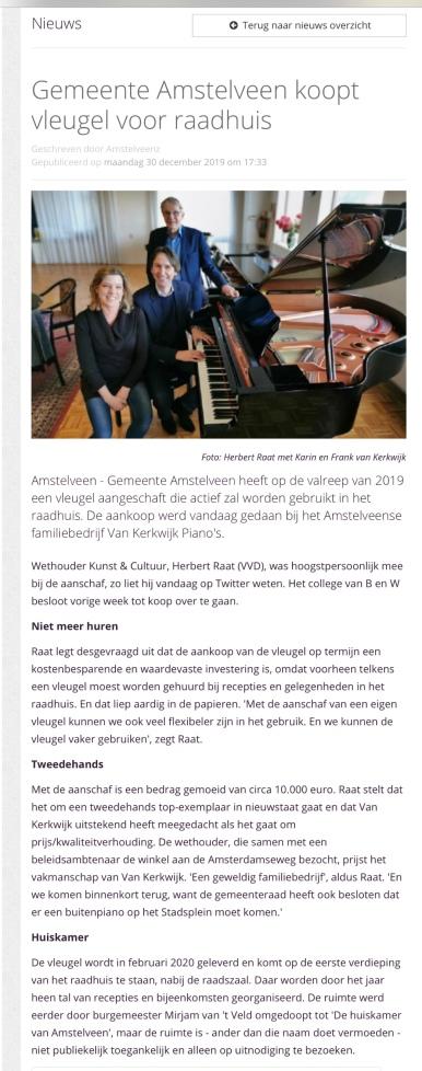 2019-30-12; AmstelveenZ; over aankoop vleugel Herbert Raat bij Van Kerkwik Amstelveen