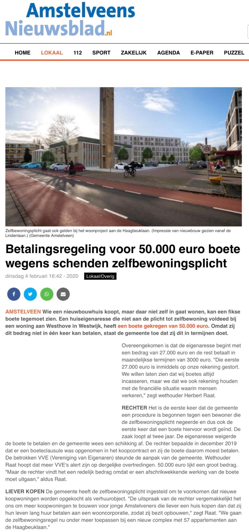 2020-4-2-Amstelveens Nieuwsblad: Herbert Raat over handhaving Zelfbewoningsplicht