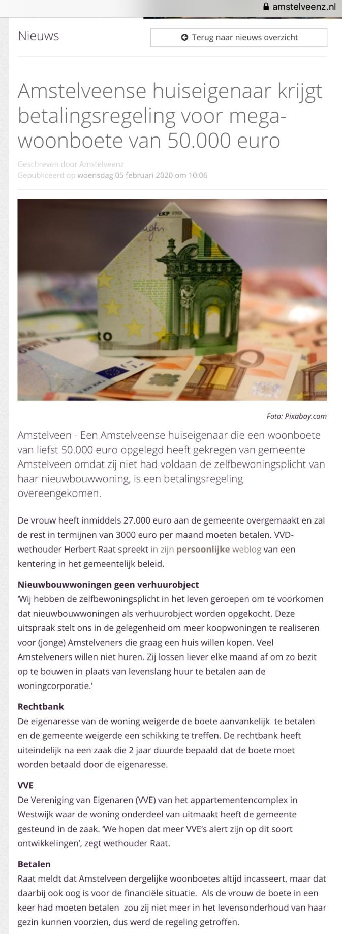 2020-5-2-AmstelveenZ: Herbert Raat over handhaving Zelfbewoningsplicht