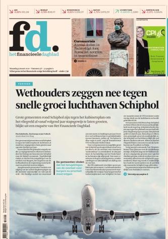 2020-9-3: Financieele Dagblad: wethouder Herbert Raat Amstelveen over toekomst Schiphol