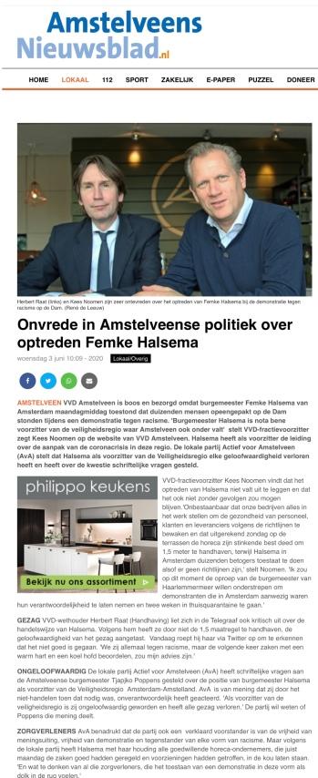 3-6-2020: Amstelveens Nieuwsblad; kritiek Kees Noomen en Herbert Raat over optreden burgemeester Femke Halsema tijdens demonstratie op de Dam