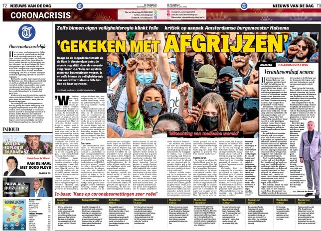 3-6-2020: pagina 2 en 3 van De Telegraaf; Herbert Raat over optreden burgemeester Femke Halsema bij demonstratie op de Dam