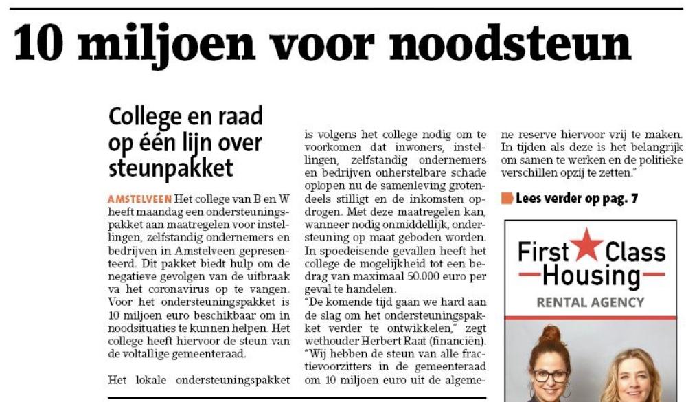 1-4-2020: Amstelveens Nieuwsblad; Herbert Raat over fonds voor inwoners, ondernemers en instellingen Amstelveen vanwege Corona 1 van 2