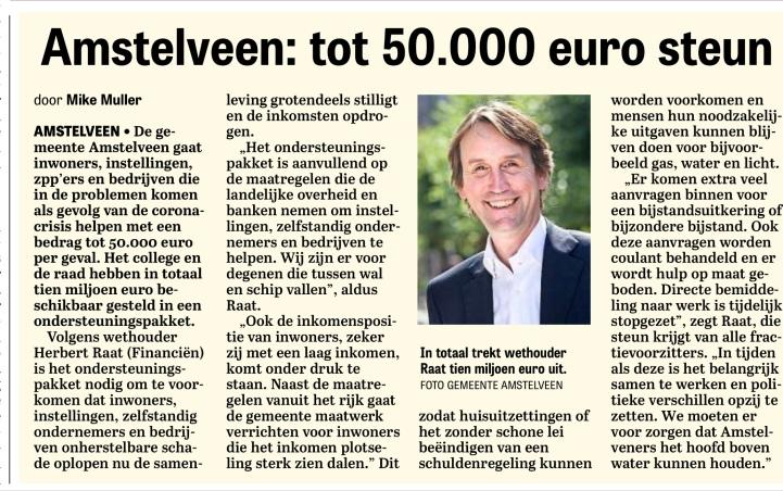 31-3-2020:De Telegraaf: Herbert Raat over fonds Amstelveen voor inwoners, ondernemers en instellingen vanwege Corona 1 van 2