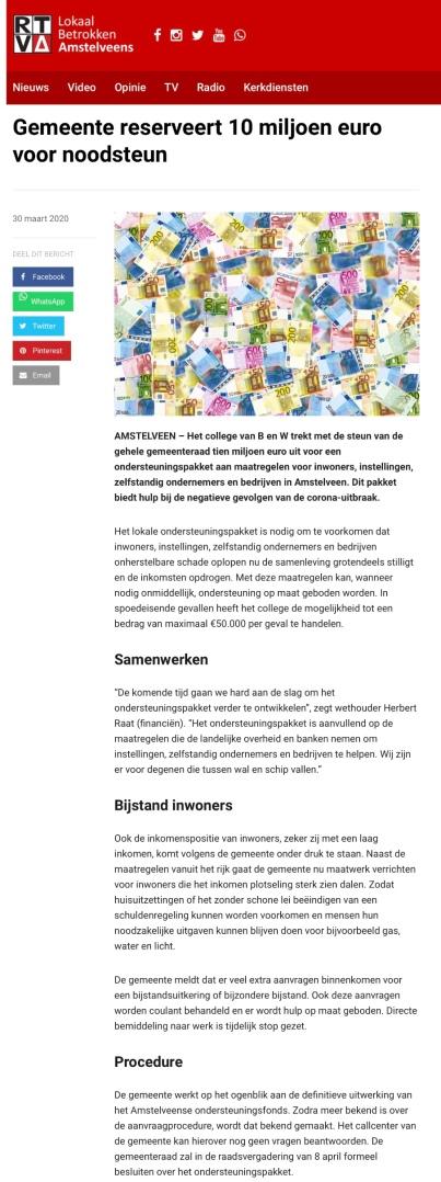 1-4-2020: RTVA; Herbert Raat over fonds Amstelveen vanwege Corona