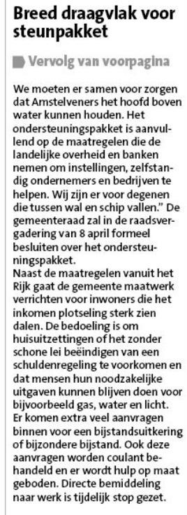 1-4-2020: Amstelveens Nieuwsblad; Herbert Raat over fonds Amstelveen vanwege Corona 1 van 2