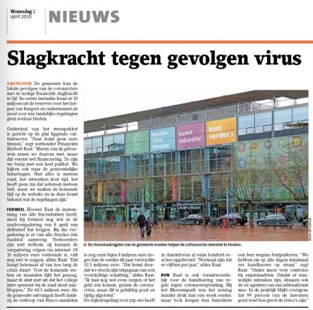 2020-1-4; Amstelveens Nieuwsblad; Herbert Raat over steun voor inwoners en ondernemers vanwege Corona.