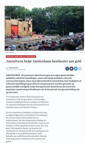 28-3-2020: Telegraaf site; Herbert Raat over steun bostheater door Amstelveen 1 van 3