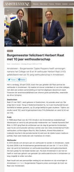 28-4-2020; AmstelveenZ: felicitatie door burgemeester Tjapko Poppens Herbert Raat 10 jaar wethouder