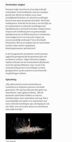 28-3-2020: Telegraaf site; Herbert Raat over steun bostheater door Amstelveen 2 van 3