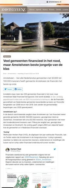 20-4-2020; Amstelveenz;nHerbert Raat over gezonde financiele positie Amstelveen