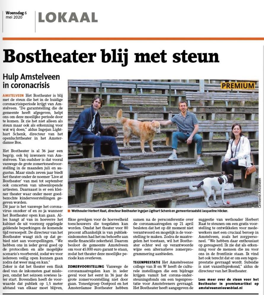 2019; Amstelveens Nieuwsblad; Herbert Raat over steun bostheater Amsterdam
