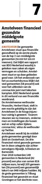 22-4-2020; Amstelveens Nieuwsblad-site; Herbert Raat over gezonde financiele positie Amstelveen