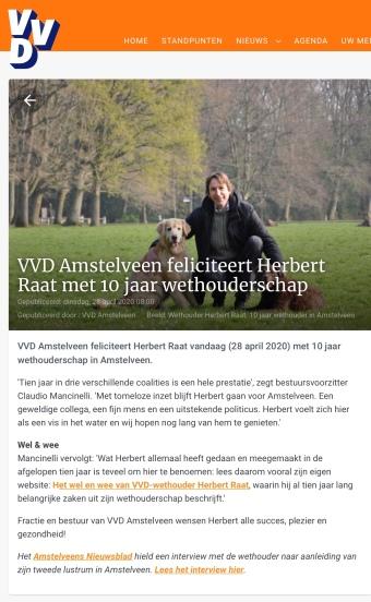 28-4-2020: VVD Amstelveen felicitatie Herbert Raat 10 jaar wethouder