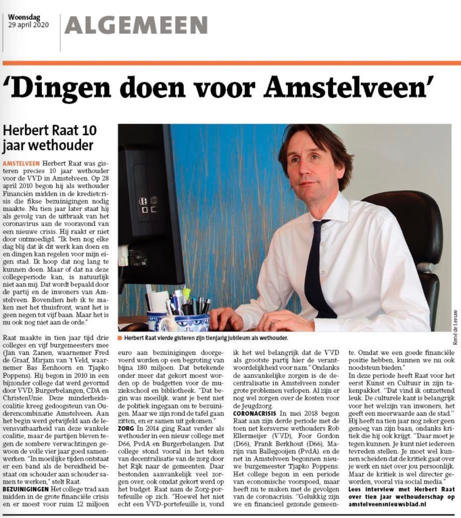 29-3-2020; Amstelveens Nieuwsblad; interview met Herbert Raat over 10 jaar wethouder; krantversie