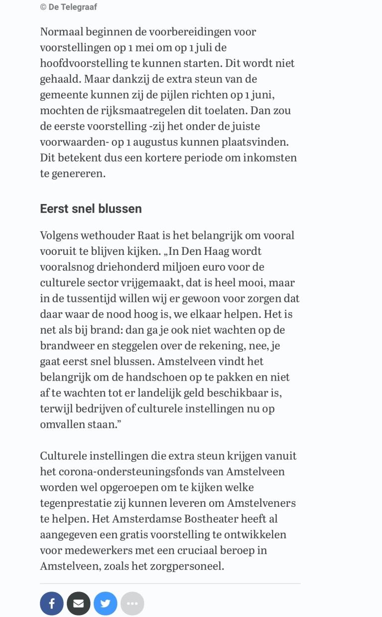 28-3-2020: Telegraaf site; Herbert Raat over steun bostheater door Amstelveen 3 van 3