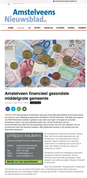 21-4-2020; Amstelveens Nieuwsblad-site; Herbert Raat over gezonde financiele positie Amstelveen