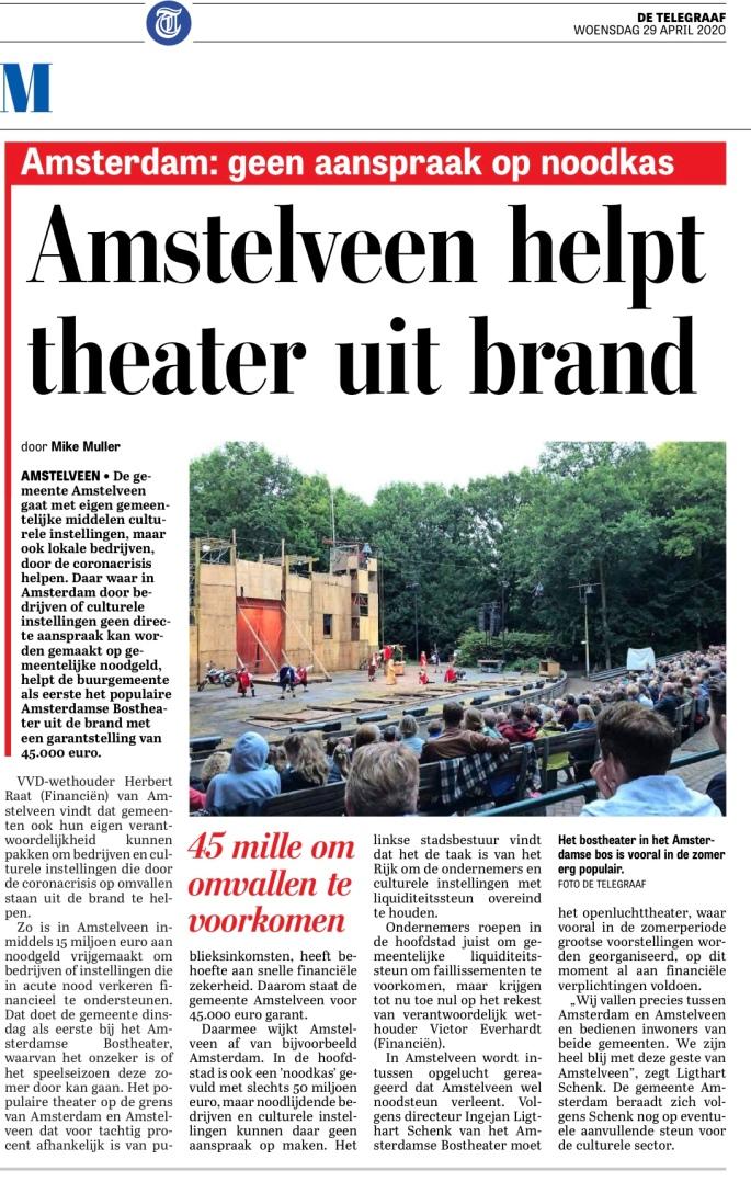 29-3-2020: Telegraaf: Herbert Raat over steun bostheater door Amstelveen