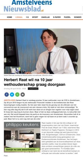 28-4-2020; Amstelveens Nieuwsblad: interview Herbert Raat 10 jaar wethouder 1 van 2