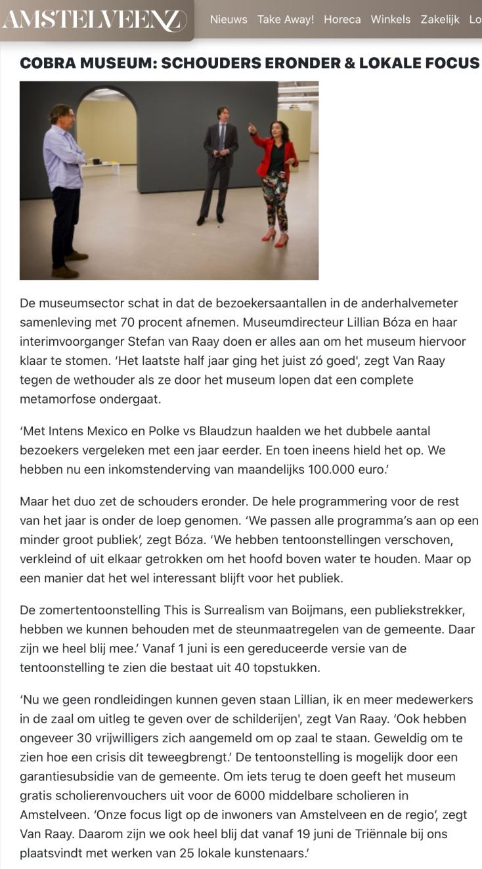 mei 2020; Amstelveenz: rondje cultuur tijdens coronacrisis Amstelveen met Herbert Raat en Lilian Boza internet versie 5-7