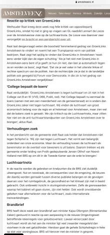 23-6-2020; Amstelveenz; reactie BRS Schipholregio en Herbert Raat op Luchtvaartnota en de marginale politieke positie van Groen Links in Amstelveen 1 van 2