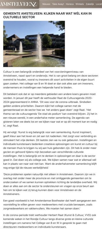 mei 2020; Amstelveenz: rondje cultuur tijdens coronacrisis Amstelveen met Herbert Raat internet versie 7-7