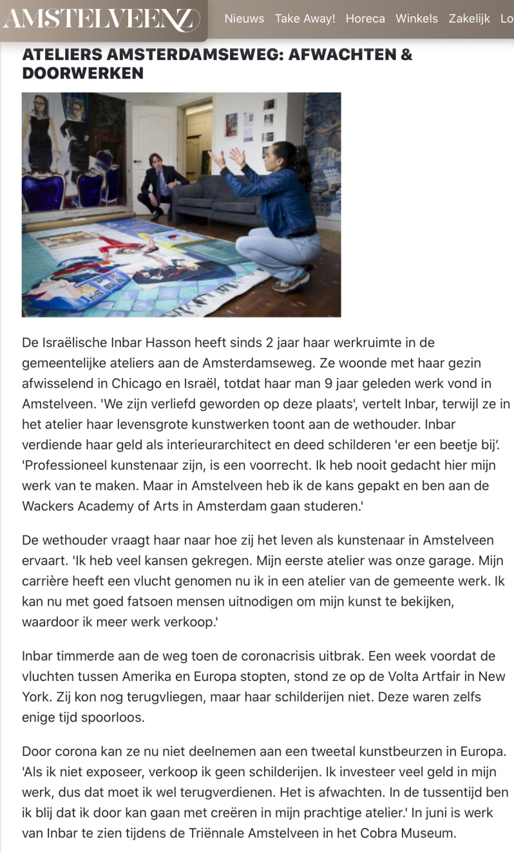 mei 2020; Amstelveenz: rondje cultuur tijdens coronacrisis Amstelveen met Herbert Raat en Inbar Hasson internet versie 4-7