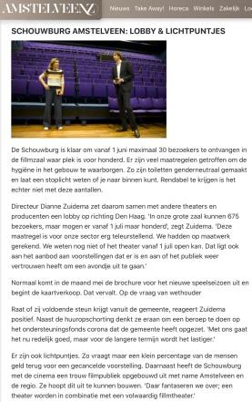 mei 2020; Amstelveenz: rondje cultuur tijdens coronacrisis Amstelveen met Herbert Raat en Dianne Zuidema internet versie 2-7