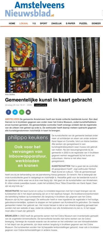 26-5-2020; Amstelveens Nieuwsblad; Herbert Raat over het in kaart brengen van de Amstelveense kunst