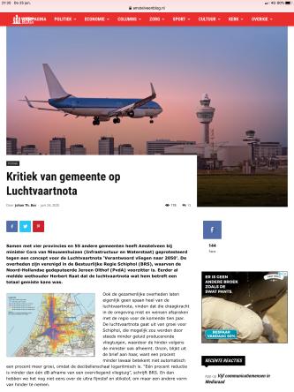 23-6-2020; Amstelveenblog.nl; reactie BRS Schipholregio en Herbert Raat op Luchtvaartnota 1 van 2