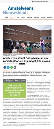 20-5-2020; Amstelveens Nieuwsblad: Herbert Raat over steun Cobramuseum onder voorwaarde dat jongeren gratis naar binnen mogen.