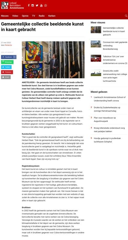 26-5-2020; RTVA; Herbert Raat over het in kaart brengen van de Amstelveense kunst
