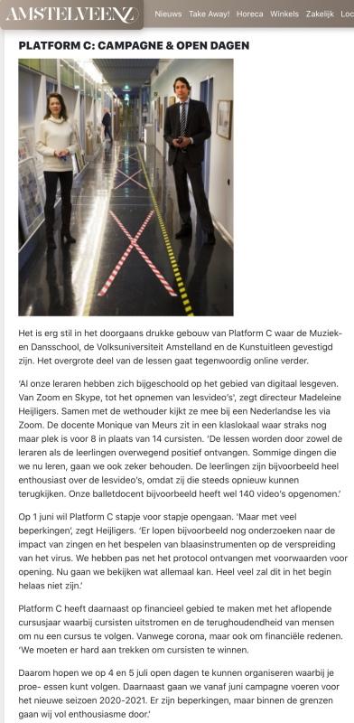 mei 2020; Amstelveenz: rondje cultuur tijdens coronacrisis Amstelveen met Herbert Raat en Madeleine Heiligers internet versie 6-7