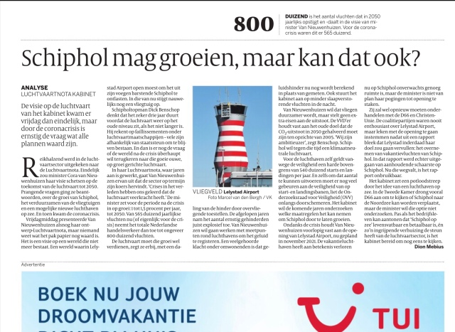 16-5-2020; De Volkskrant; Dion Mebius analyse luchtvaartnota
