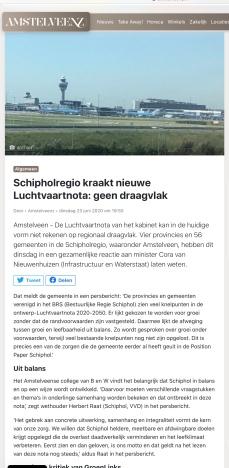 23-6-2020; Amstelveenz; reactie BRS Schipholregio en Herbert Raat en de marginale positie van Groen Links in Amstelveen en de Luchtvaartnota 1 van 2