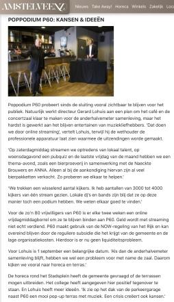 mei 2020; Amstelveenz: rondje cultuur tijdens coronacrisis Amstelveen met Herbert Raat en Gerard Lohuis internet versie 3-7