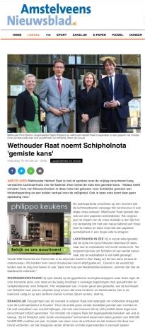 18-5-2020; Amstelveens Nieuwsblad: Herbert Raat over luchtvaartnota