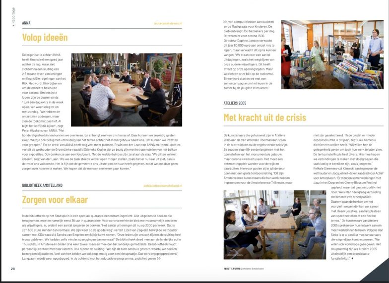 2020-juli; INTO business: Herbert Raat op bezoek met Groen Links raadslid Stieneke Kruijer, CDA-raadslid Sandra van Engelen en BBA raadslid Jacqueline Höcker op bezoek bij ANNA, de Bieb en Ateliers 2005.