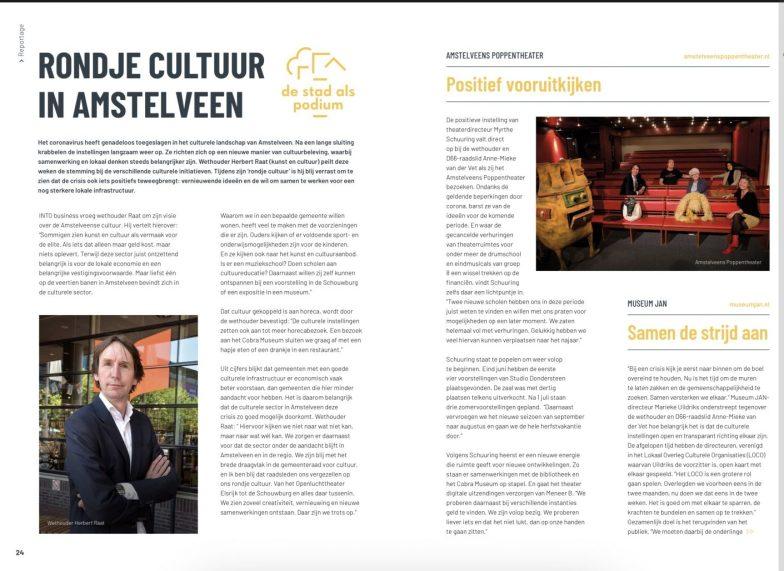 2020-juli; INTO business: Herbert Raat op bezoek met D66 raadslid Anne-Mieke van der Vet op bezoek bij directeur Myrthe Schuuring van het Amstelveens Poppentheater 1 van 3
