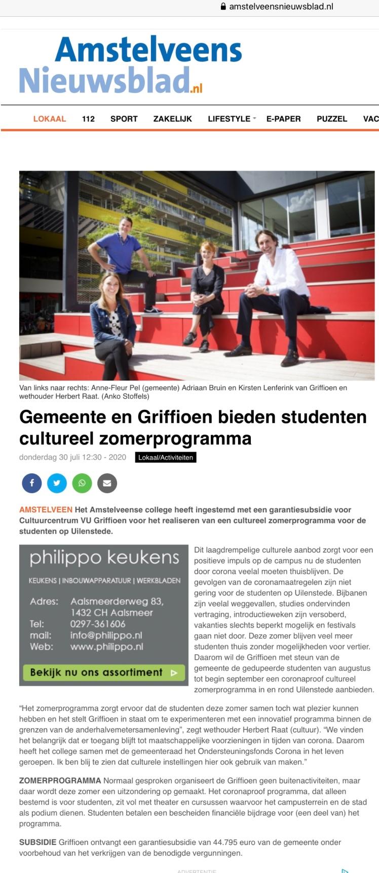 2020-Amstelveens Nieuwsblad: Steun voor een cultureel zomerprogramma voor het Griffioen Uilenstede- Anne Fleur Pel, Adriaan Bruin, Kirsten Lenferink en Herbert Raat