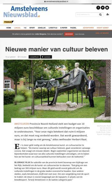 15-7-2020; Het Amstelveens Nieuwsblad; digitale versie 1 van 2: interview wethouder Herbert Raat door Naomi Heidinga de toekomst van kunst en cultuur in Amstelveen