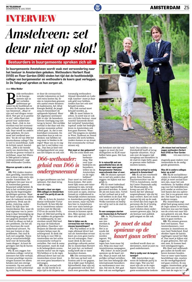 16-7-2020; De Telegraaf; interview met wethouders Herbert Raat VVD en Floor Gordon D66 over samenwerking Amstelveen Amsterdam