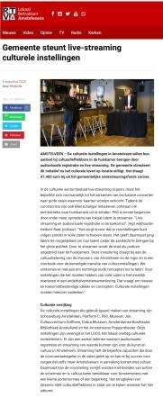 6-8-2020; RTVA- Herbert Raat over cultureel aanbod Amstelveen nu digitaal te zien.