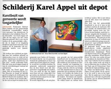 2020-Amstelveens Nieuwsblad; Wethouder Herbert Raat bij de twee gezichten van Karel Appel