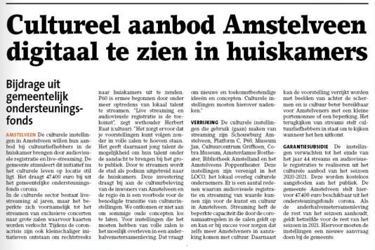 12-8-2020; Amstelveens Nieuwsblad; Herbert Raat over cultureel aanbod Amstelveen nu digitaal te zien.
