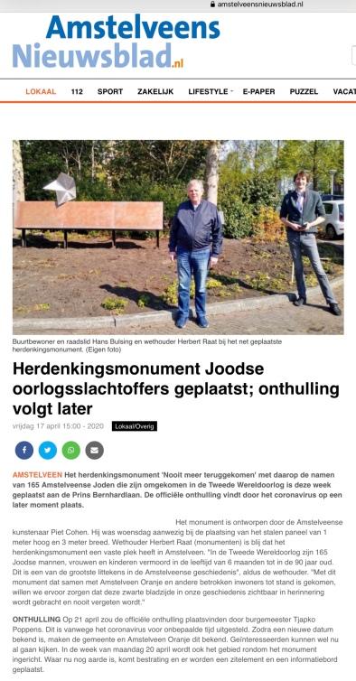 22-4-2010: Amstelveens Nieuwsblad; Hans Bulsing en Herbert Raat bij monument Joodse slachtoffers Amstelveen-internetversie